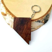 NEVADA shape Wooden Keychain, Walnut Wood, USA States,  Custom Engravable Keychain, Environmental Friendly Green materials