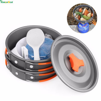 Outdoor Camping Pot and Pan Set 9 Piece Backpacking Gear And Hiking Cook Set Bowls Spoon With Oxford Bag