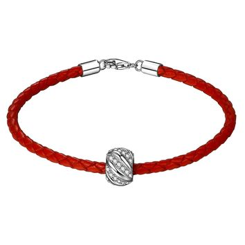 """Leather Woven Bracelet 925 Sterling Silver 3A Zirconia """"Shining Galaxy"""" Charm Bead 7.5 Inches Red Women and Men Couple Bracelet,Valentine's Day Gifts"""