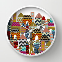 geo town Wall Clock by Sharon Turner
