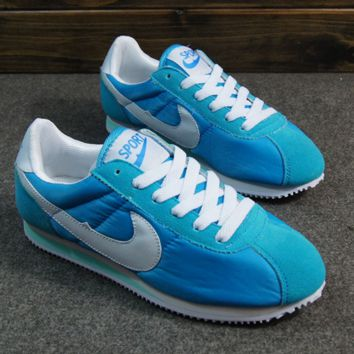 NIKE Cortez Forrest gump lovers shoes running shoes running shoes Sky blue white hook