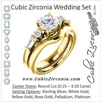 CZ Wedding Set, featuring The Sarah engagement ring (Customizable 5-stone Design with Round Cut Center and Baguette/Round Bar-set Accents)