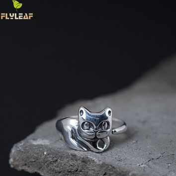 Flyleaf Brand 925 Sterling Silver Cute Cat Open Rings For Women Do The Old Vintage Style Lady Jewelry