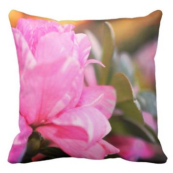 Pink Azalea Patio Accent Pillow