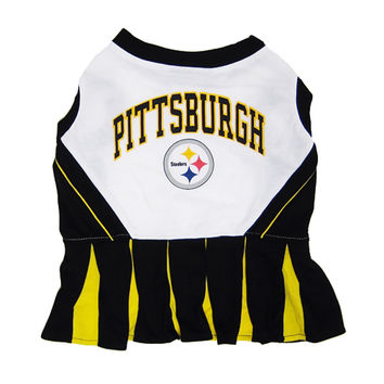 Mirage Pet Products Puppy Dog Cat Costume Pittsburgh Steelers Sports Team Logo Cheer Leading Uniform SM