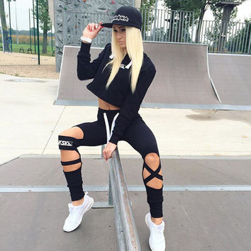 Gagaopt  Sexy Style 2 Piece Set Women Black Pants and Crop Top Suit Fashion Hollow Out Letter Print Sportswear Tracksuit