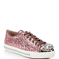 Miu Miu - Glitter Jeweled Lace-Up Sneakers - Saks Fifth Avenue Mobile