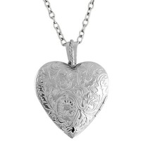 1.5 Inch Engraved Flowers Heart Locket W/28 Inch Chain - Foter