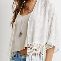Fringed Floral-Embroidered Kimono