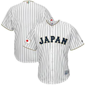 Japanese Baseball Jerseys 2017 World Japan Classic Jersey Men Blank White Stripe Breathable For Sport Fans Top Quality On Sale