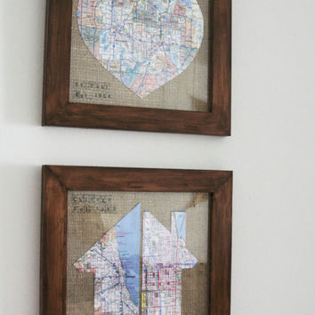 Heart and Home Wall Art/Wood Frame/Burlap/Map/Born vs Live/Stamped/Date/Texture/Rustic