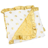 Gold Polka Dot Ruffe Blanket