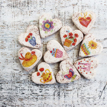 Wedding favors heart magnets cottage chic guest favors shabby chic bridal shower summer flowers baby shower party