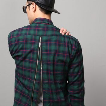 Mens F. Rear Zip Extended Flannel Shirt at Fabrixquare Vandalique