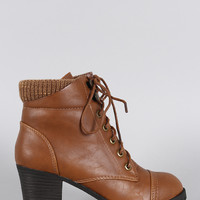 Bamboo Sweater Cuff Combat Lace Up Ankle Boots