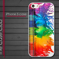 iPhone 5 Case  iPhone 5 Plastic Cover White - Melted crayons Art Canvas Dripping