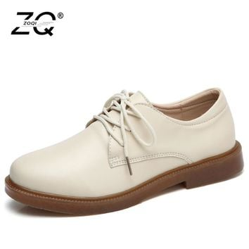 Shoes Woman 2017 Genuine Leather Women Shoes Flats 4Colors Loafers Lace Up Women's Flat Shoes Moccasins P012