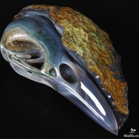 Forevermore - Agate Geode Carved Crow/Raven Crystal Skull Sculpture
