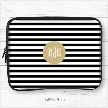 Monogram laptop sleeve, macbook, pro, air, hp, dell, sony, 10, 11, 12, 13, 14, 15, 15.6, 17, monogrammed, case, stripes, black, gold