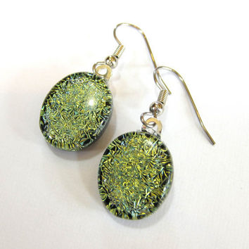 Yellow Gold Dichroic Earrings Dangle Pierce Earrings - Enlighten by mysassyglass