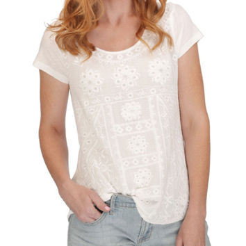 Lucky Brand  Embroidered Tee Lucky White