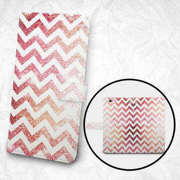 iPhone 6 6S Plus case, Samsung Galaxy S6 case Edge case Note 5 4 3 2 PU leather flip cover Book Phone case Wallet case - Pink Chevron