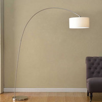 Modern Arched Floor Lamp Adjustable Shade Indoor Home Office Decor White Linen