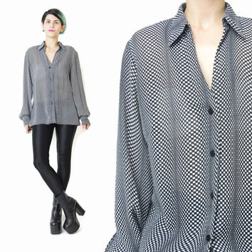Vintage Op Art Blouse Black and White Shirt 90s Trippy Print Psychedelic Button Up Shirt Slouchy Checkerboard Womens Long Sleeve Top (M/L)