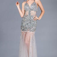 PRIMA C134387 Sequin Sheer Bottom Prom Dress