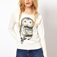 White Rhinestone Owl Print Long Sleeve Sweatshirt