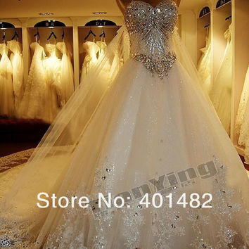 Freeshipping Real Photos Popular Luxury Strapless A-Line Shining Beaded Cathedral Train Wedding Dress