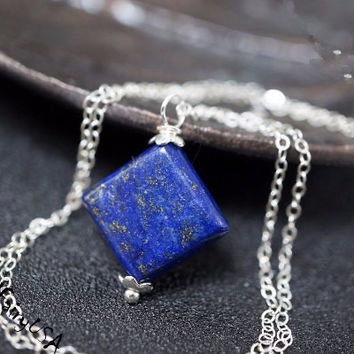 Tiny Square Diamond Lapis Lazuli Necklace Sterling Silver Yoga Necklace Lapis Lazuli Jewelry Lapis Chakra Healing Necklace