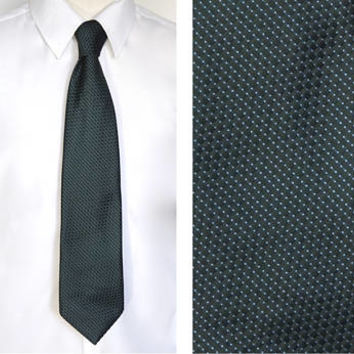 "Vintage Dark Green Tie, WEMLON by WEMBLEY Tie, 1970s Tie,4"" Wide Tie,Washable Pindot Woven Tie,Disco Era Retro Tie,Retro Accessories"