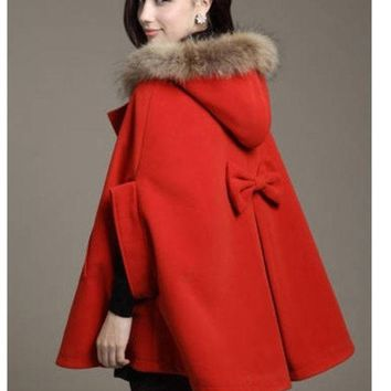 DCCKIX3 Red Blue Khaki 2015 Fashion Women's Batwing Cape Wool Poncho Fur Collar Hooded Jacket Cloak Coat Outerwears Female Kimono Cardigan Windbreaker Tops Women's Clothing = 1946913284