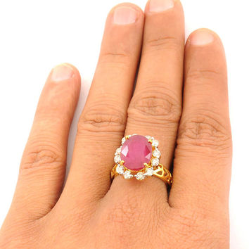 Affordable Ruby And Diamond Engagement Ring Available In All Sizes