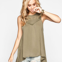 Others Follow Crochet Trim Womens Tunic Olive  In Sizes