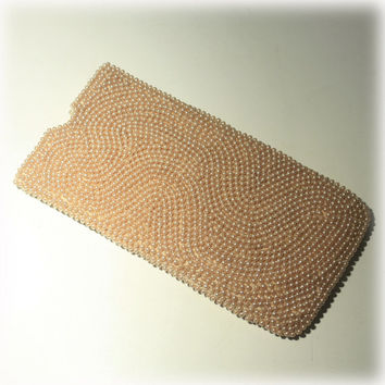 Pearl Eyeglass Case, Mid Century, Glass Case, Seed Pearl, Beaded Eyeglasses Case, Glasses Case