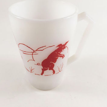 Vintage Pig Mug Hazel Atlas Three Little Pigs Milk Glass Mug Pig Childs Mug Red And White Mid Century Mug Lover Mug Lovers