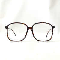 vintage 1980's eyeglasses oversized round brown tortoise shell plastic frames clear lenses prescription mens women eyewear eye glasses italy