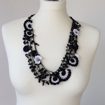 Multistrand Statement Necklace, Black White Crochet Necklace, Oya Beaded Collar, Flower Bib Necklace, Women's Gift, ReddApple