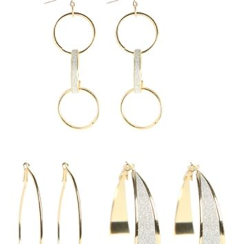 Set of 2 Hoop Earrings and Dangling Circle Earrings