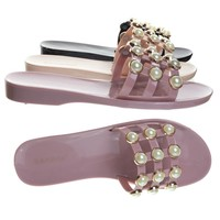 Cage01 Pearl Cage Crowne Embellished Gladiator Flat Sandal Jelly, Slipper Mule