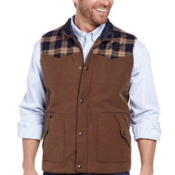 Wax Coated Snap Zip Front Vest With Flannel Yokes
