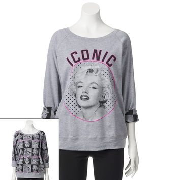 Freeze Marilyn Monroe Reversible Pullover Sweatshirt - Juniors, Size: