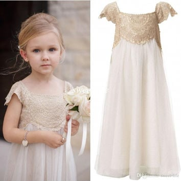 2016 Tulle Lace Flower Girl Dresses Long Party Pageant Communion Dress Short Sleeve Little Girl Kids/Children Dress for Wedding