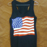 US flag tank top American flag shirt red blue white print size S M L XL country tank top/ racer back tank/ workout tank/ t shirt/ clothes