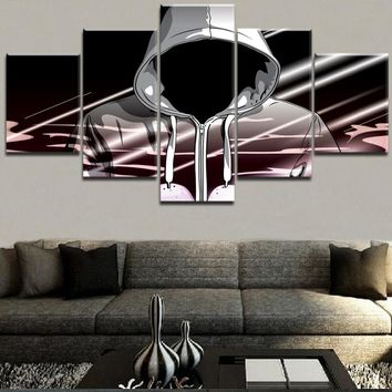 Modern Wall Art Canvas Printed 5 Panel Music Hip Hop Character Poster Abstract Painting Home Decor Modular Pictures Framework