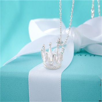 hcxx T001 Tiffany Co 925 Silver Crown Pendant Necklace