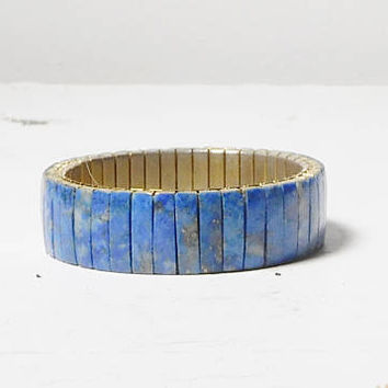 Lapis Bracelet with Expandable Vintage Watch Band Gold Tone Hippie Jewelry Southwest Cowgirl