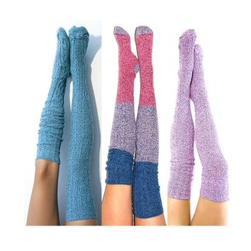 Mermaid Socks Set, 3pk Thigh High Socks - Biscay Bay, Rose Serenity Color Block, Ballet Pink